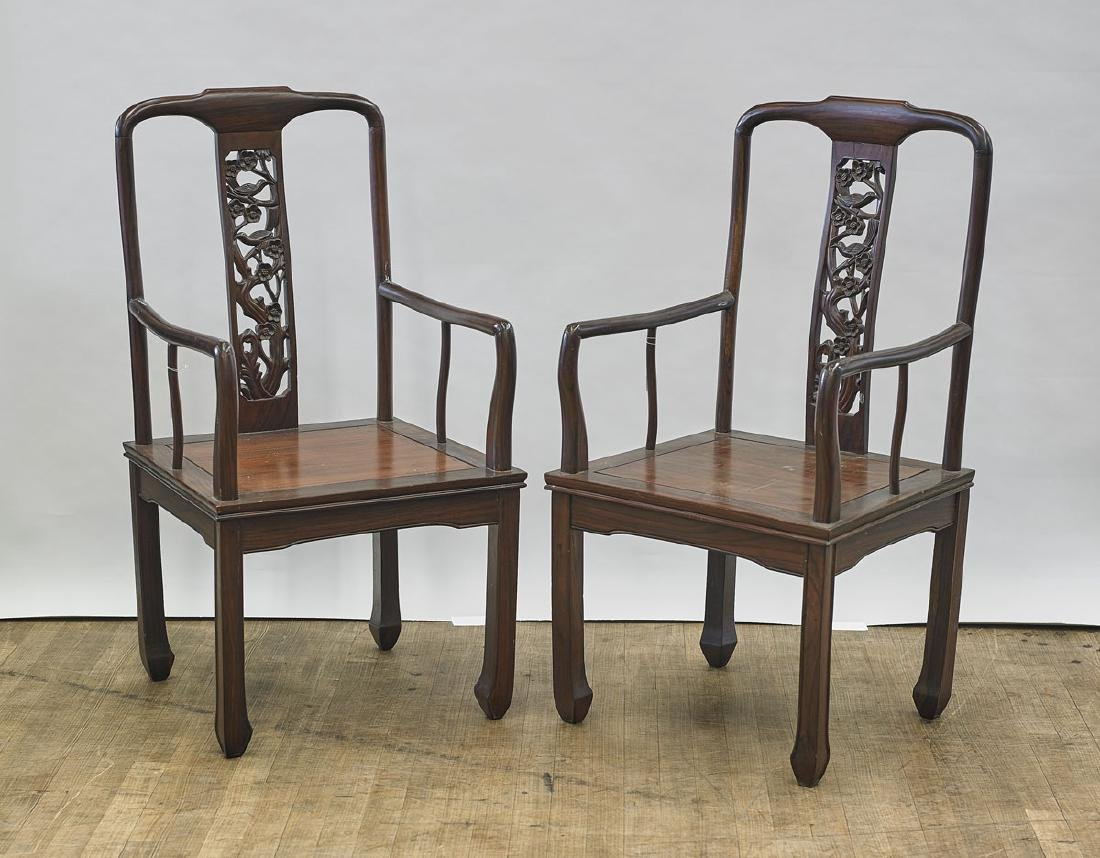 Pair of Old Chinese Carved Hardwood Chairs