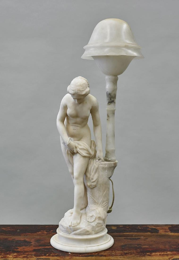 Carved Alabaster Figural Lamp