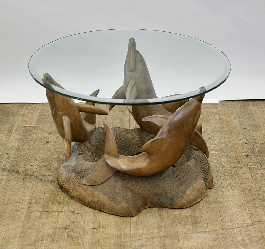 Carved Wood 'Dolphin' Table