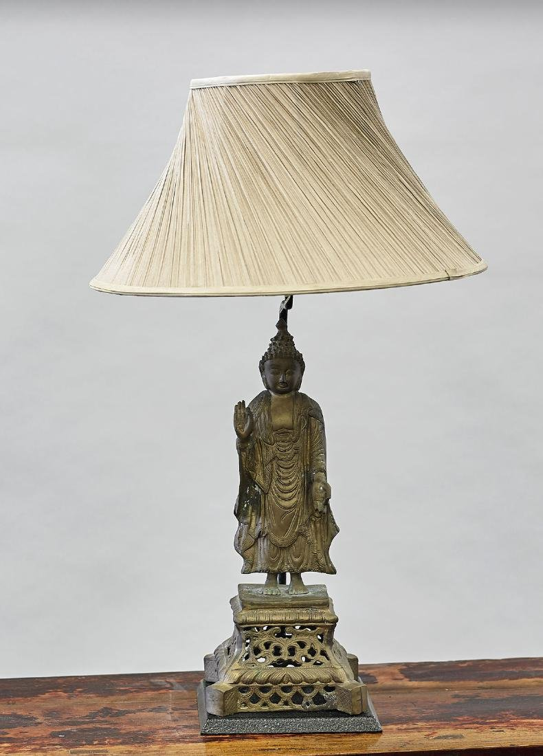 Old Chinese Bronze Standing Figure/Lamp