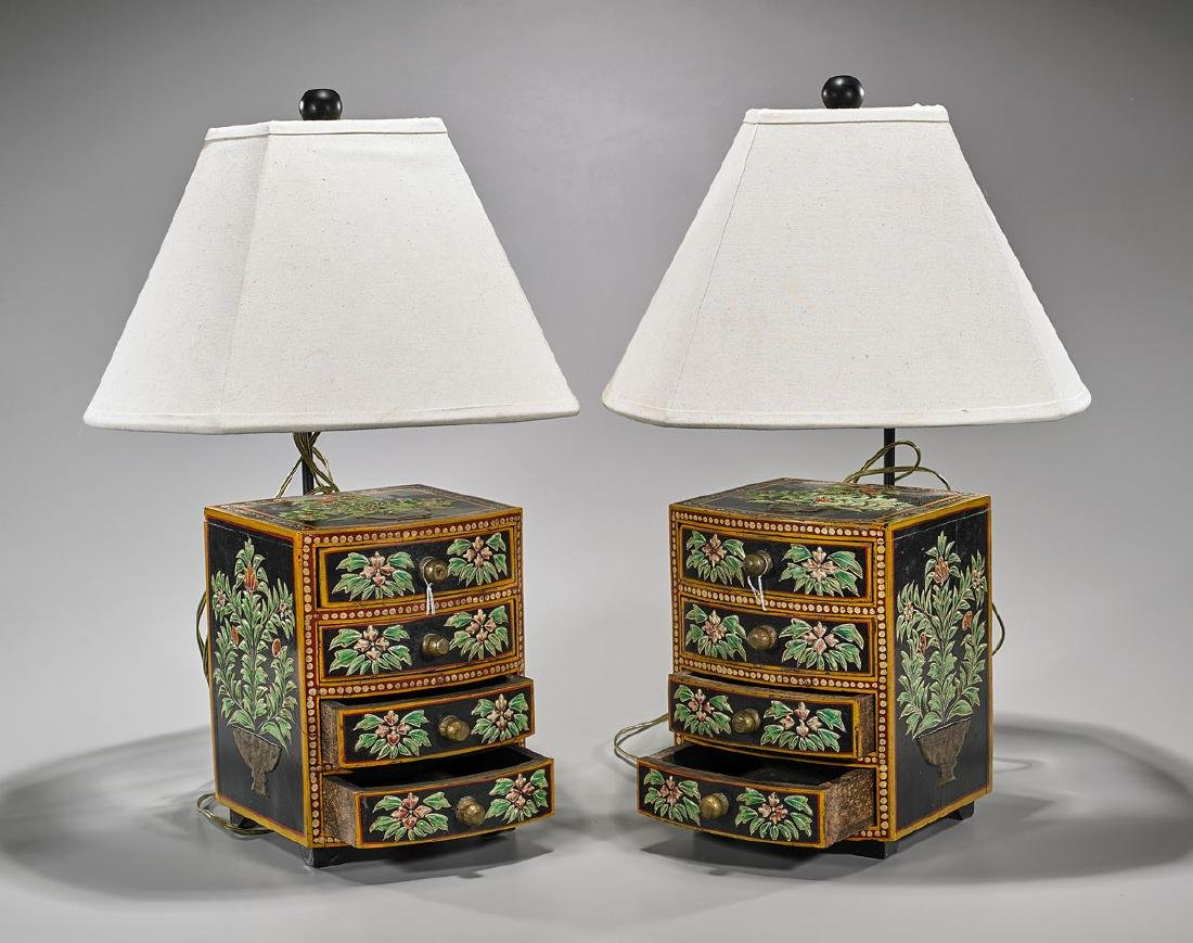 Pair Indian Painted Wood Miniature Chests/Lamps
