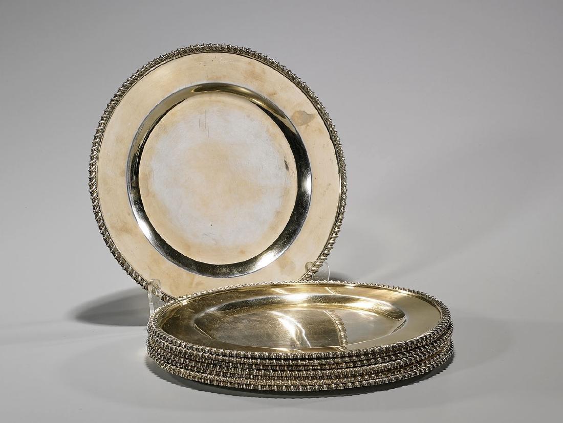 Set of Eight Gilt Metal Plates
