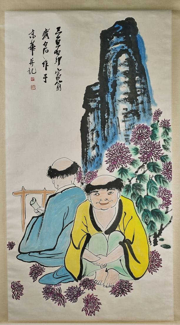 Two Large Chinese Scrolls After Qi Baishi