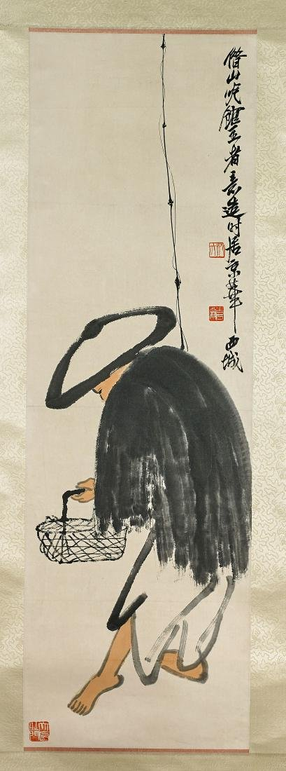 Two Chinese Scrolls After Feng Zhonglian & Qi Baishi - 3