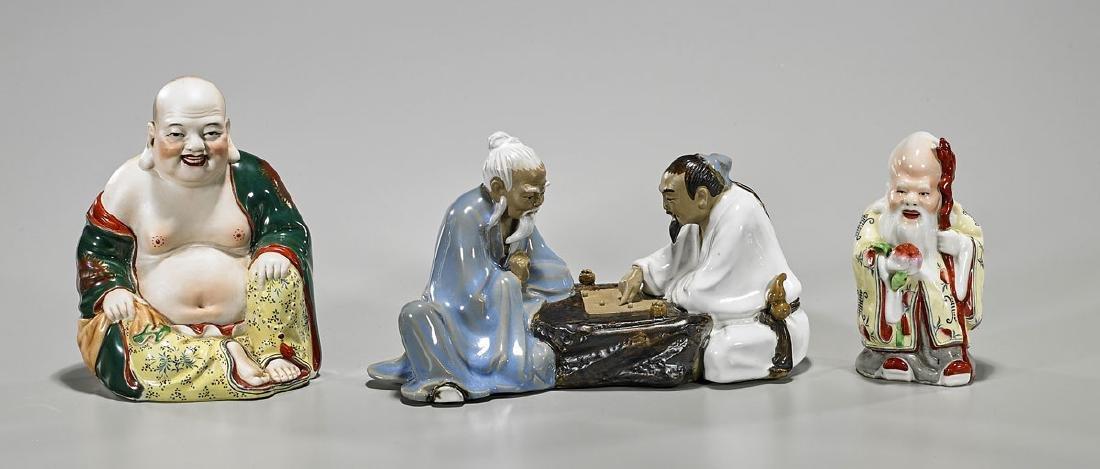 Three Chinese Glazed Porcelain Figures
