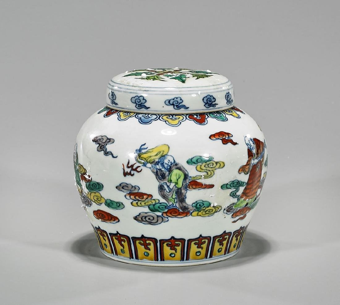 Ming-Style Doucai Enameled Porcelain Covered Jar