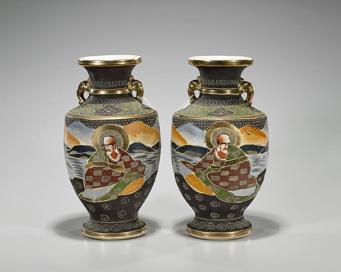 Pair Old Japanese Satsuma Earthenware Vases