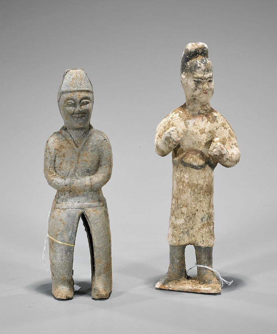 Two Chinese Early-Style Pottery Figures