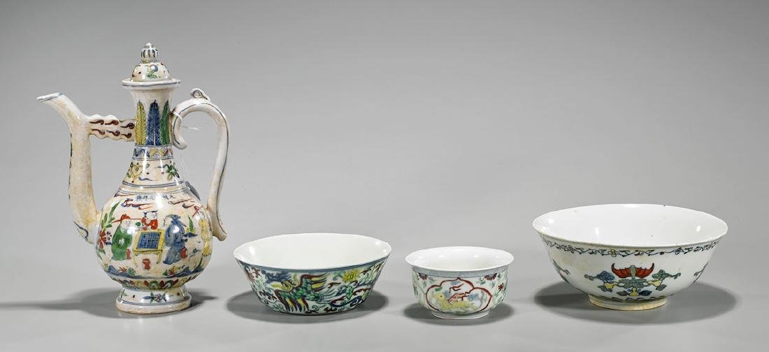 Group of Four Ming-Style Doucai Enameled Porcelains