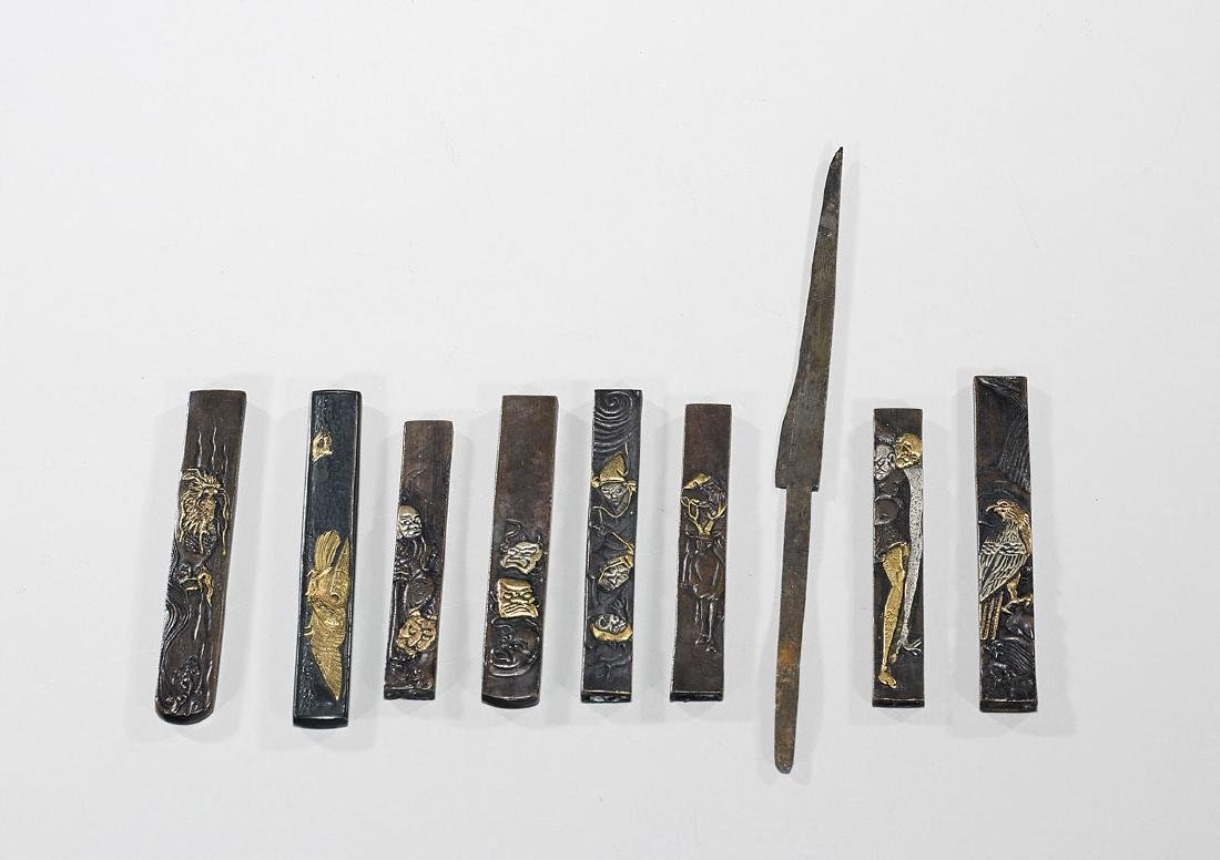 Group of Eight Japanese Knife Pieces: Kozuka & Kogatana