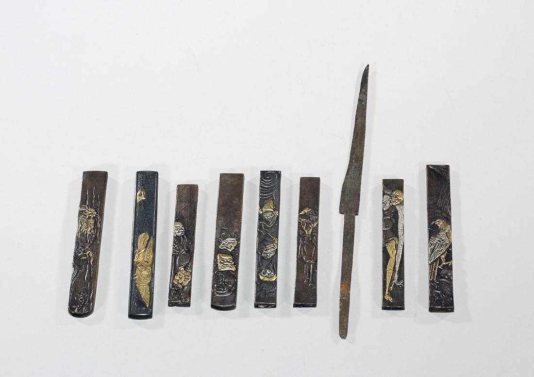 Group of Eight Japanese Knife Pieces: Kozuka & Kogatana