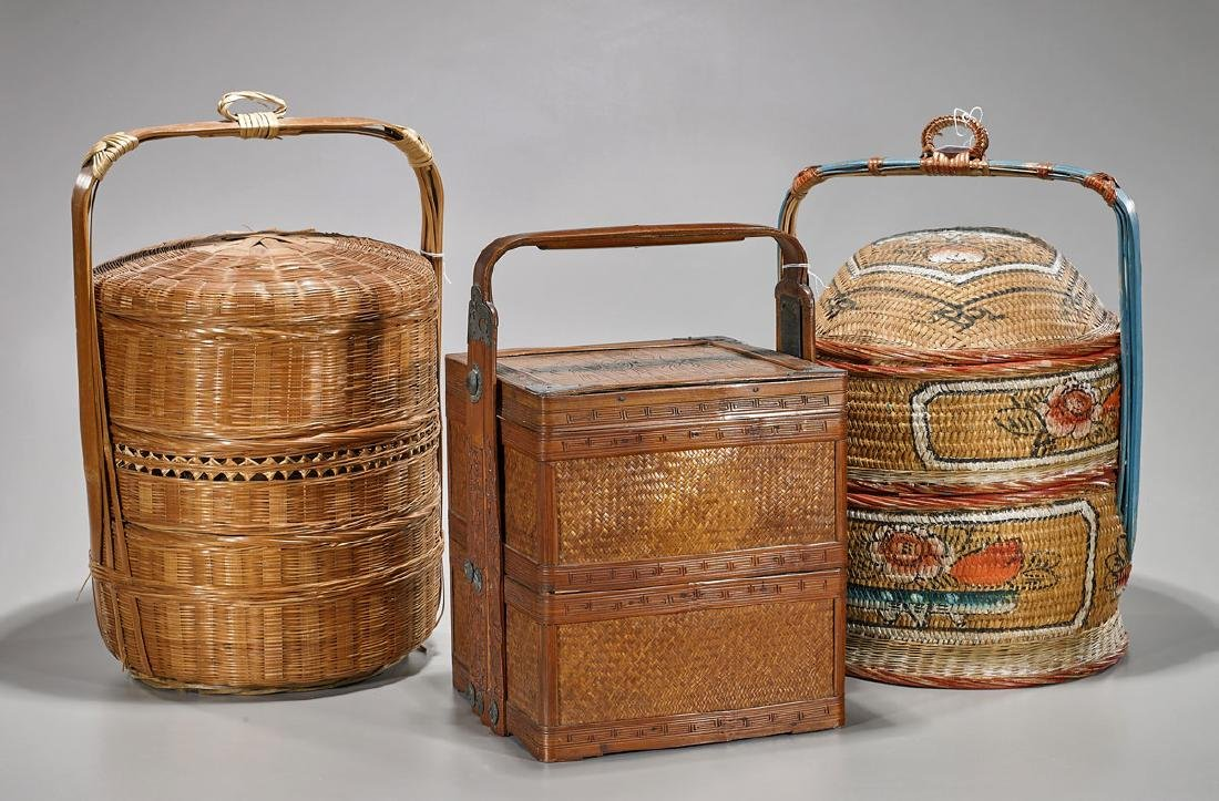 Group of Three East Asian Woven Baskets