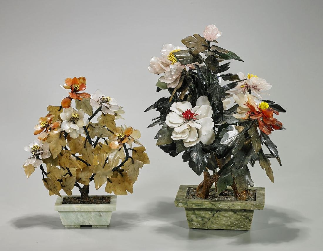Two Chinese Hardstone & Glass Flowering 'Trees'