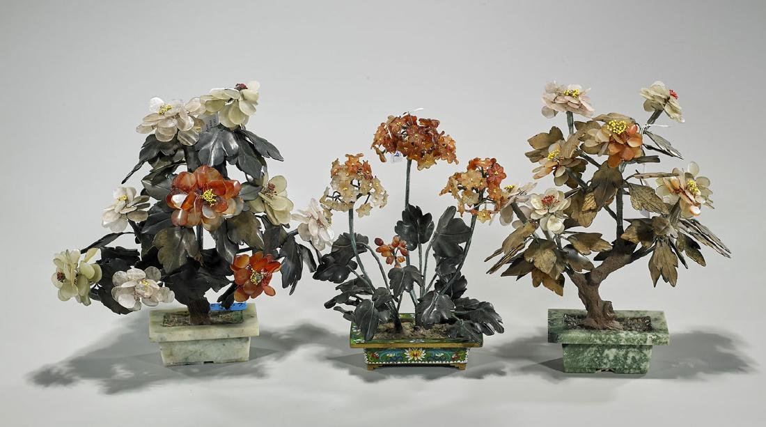 Group of Three Chinese Hardstone & Glass Flowering