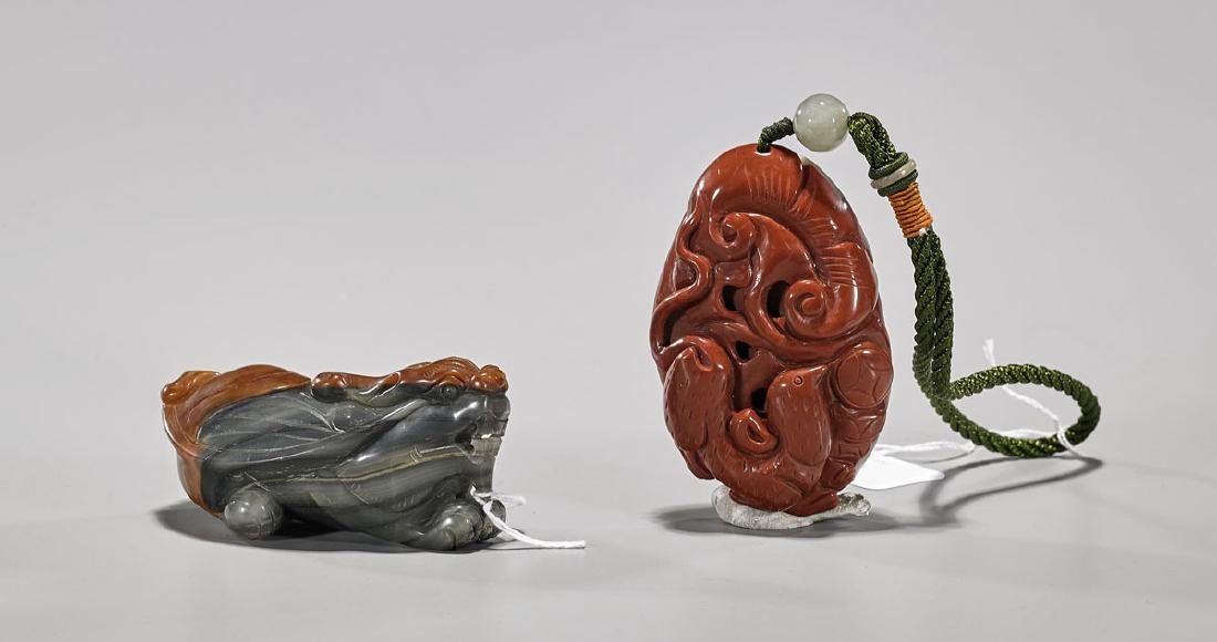 Two Chinese Carved Agate Toggles