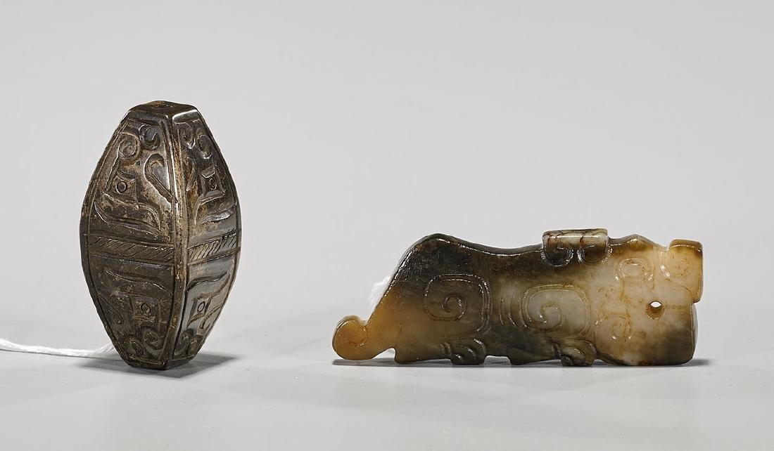 Two Archaistic Chinese Carved Hardstones