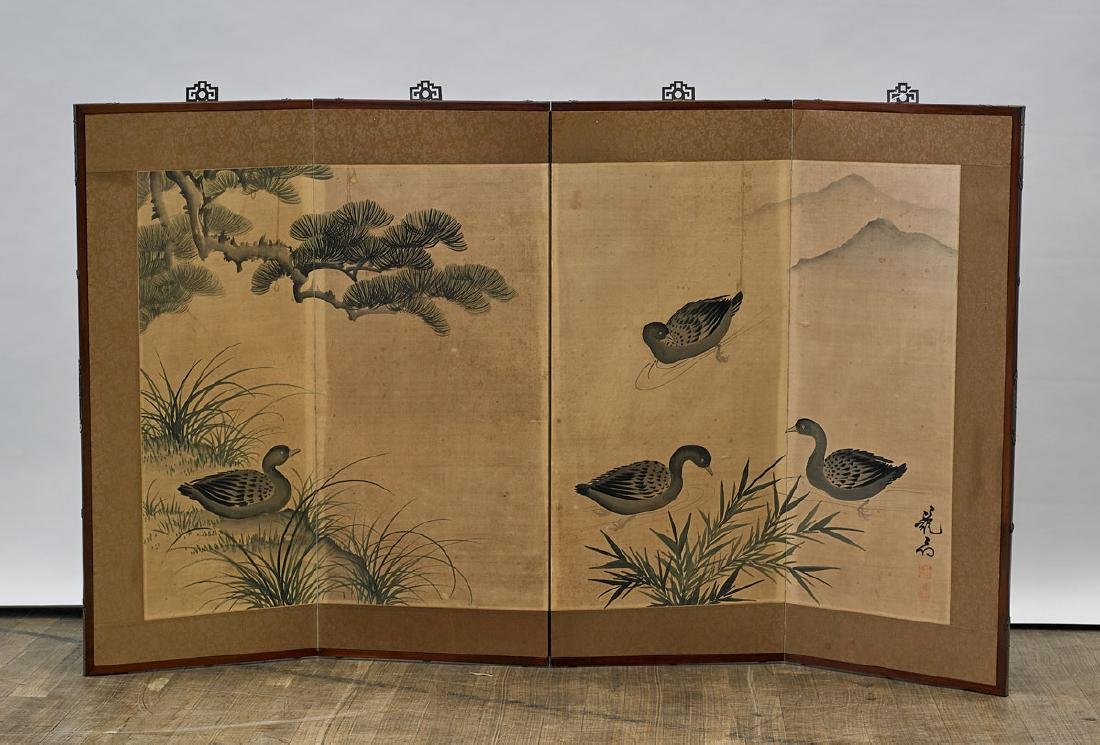 Old Japanese Four-Panel Painted Paper Screen
