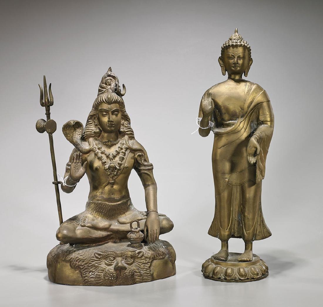 Two Metalwork Figures of Deities
