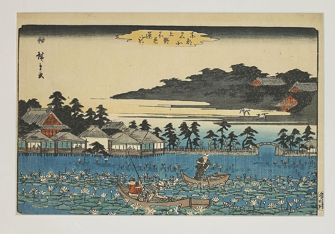 Two Antique Japanese Woodblock Prints By Hiroshige