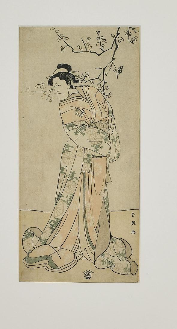 Three Antique Japanese Woodblock Prints By Shun'ei