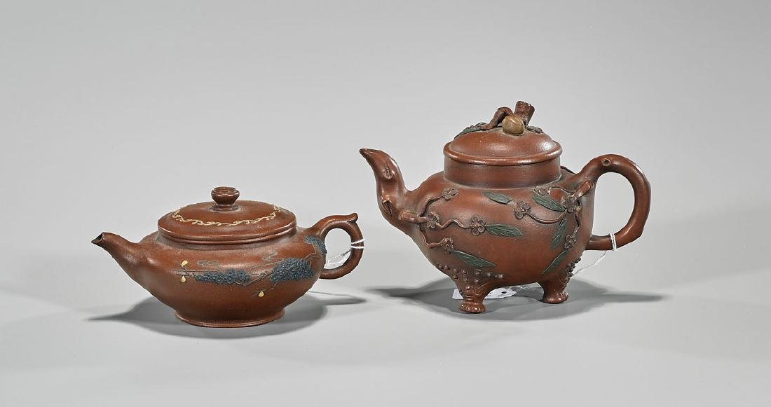 Two Chinese Yixing Pottery Covered Teapots