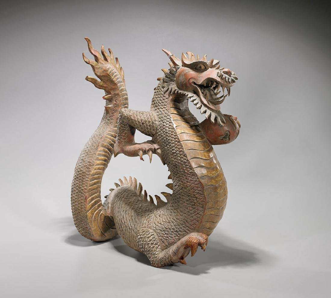 Large Carved Parcel-Gilt & Polychrome Wood Dragon