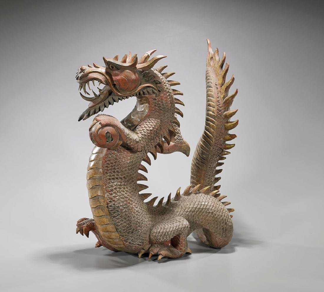 Large Carved Parcel-Gilt & Polychrome Wood Dragon - 2