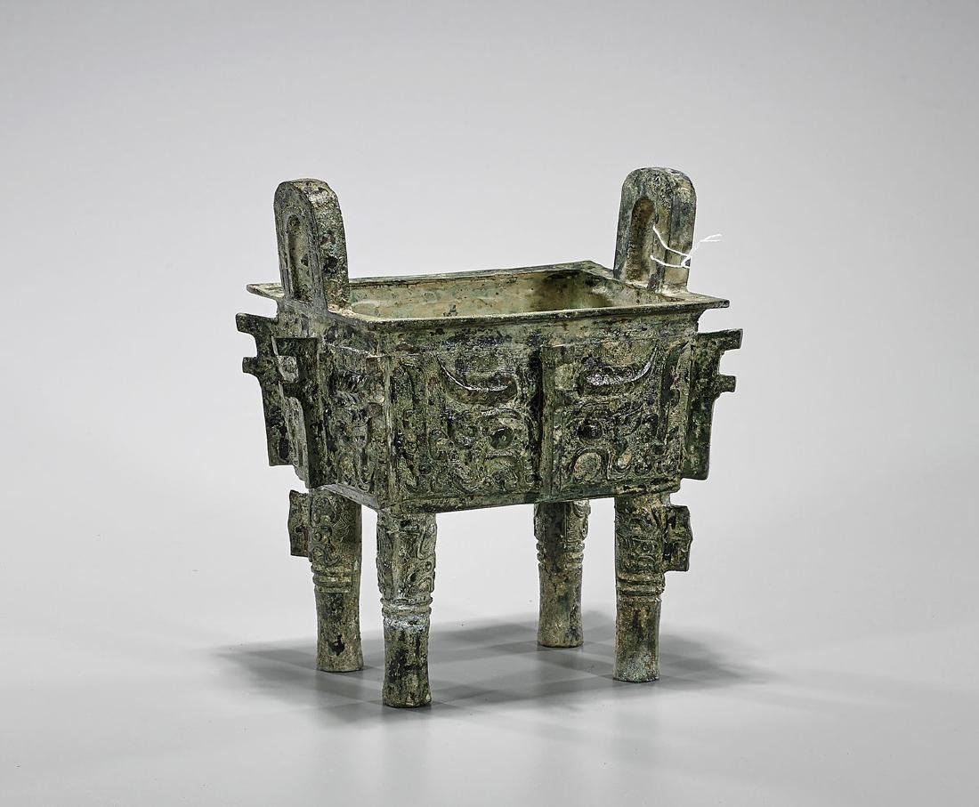 Archaistic Chinese Bronze Ding Vessel