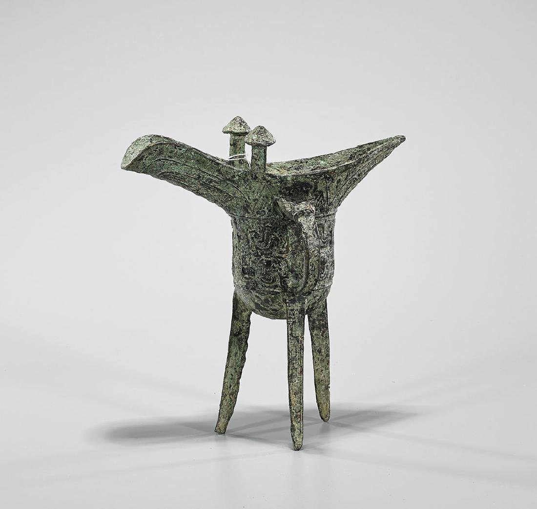 Archaistic Chinese Bronze Tripod Jue Vessel