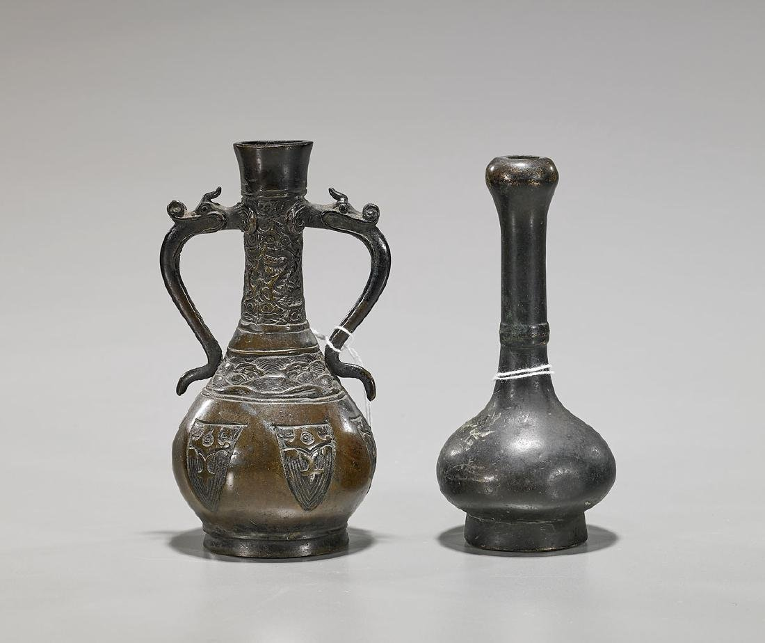 Two Antique Chinese Bronze Miniature Vases