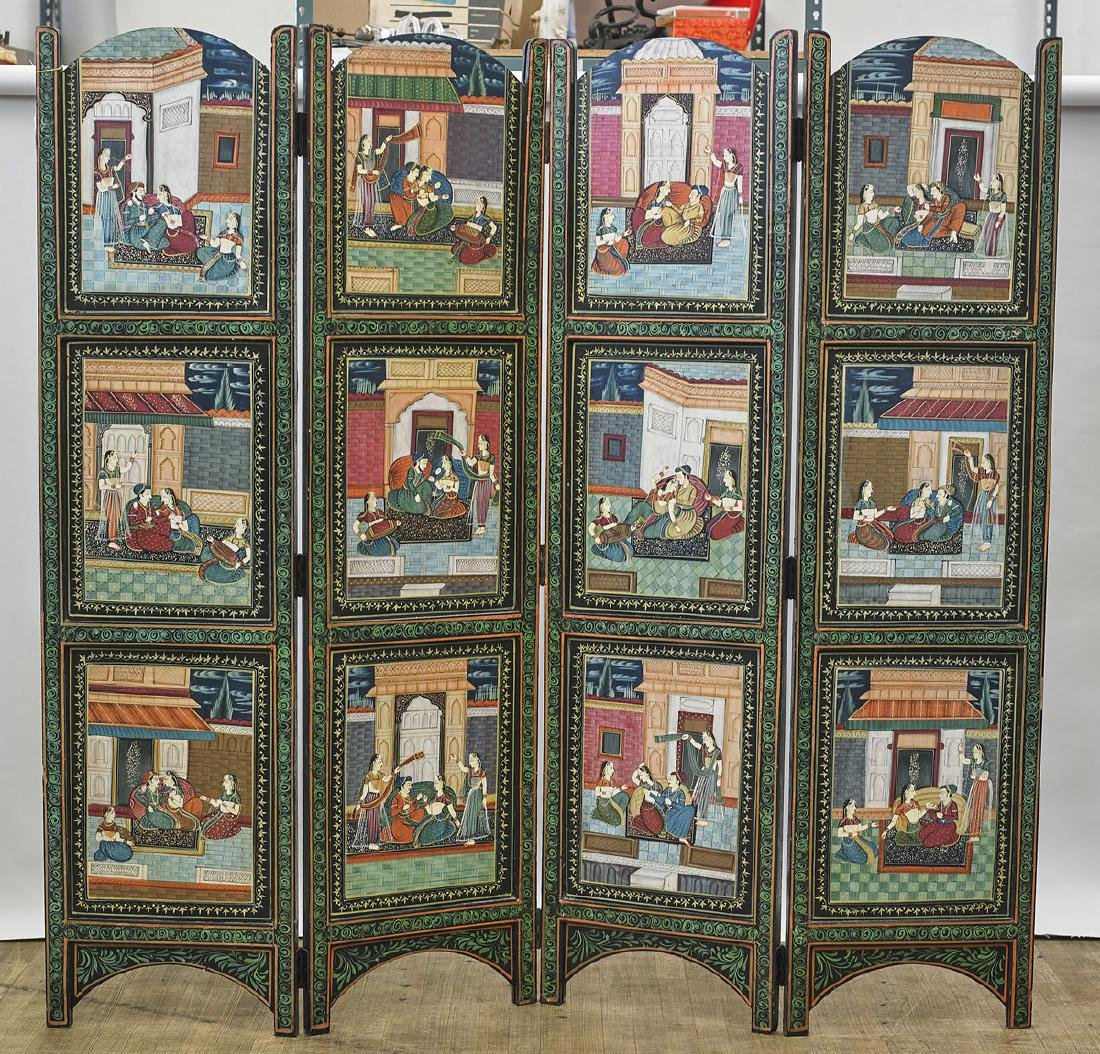 Old Indian Four-Panel Painted Wood Screen