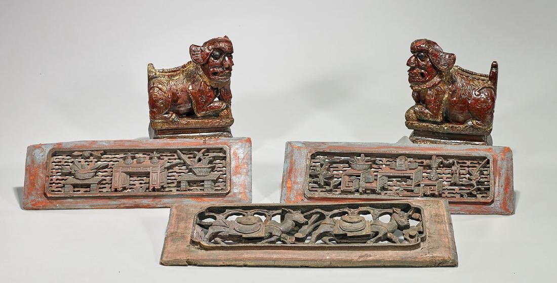Group of Five Antique Chinese Wood Carvings