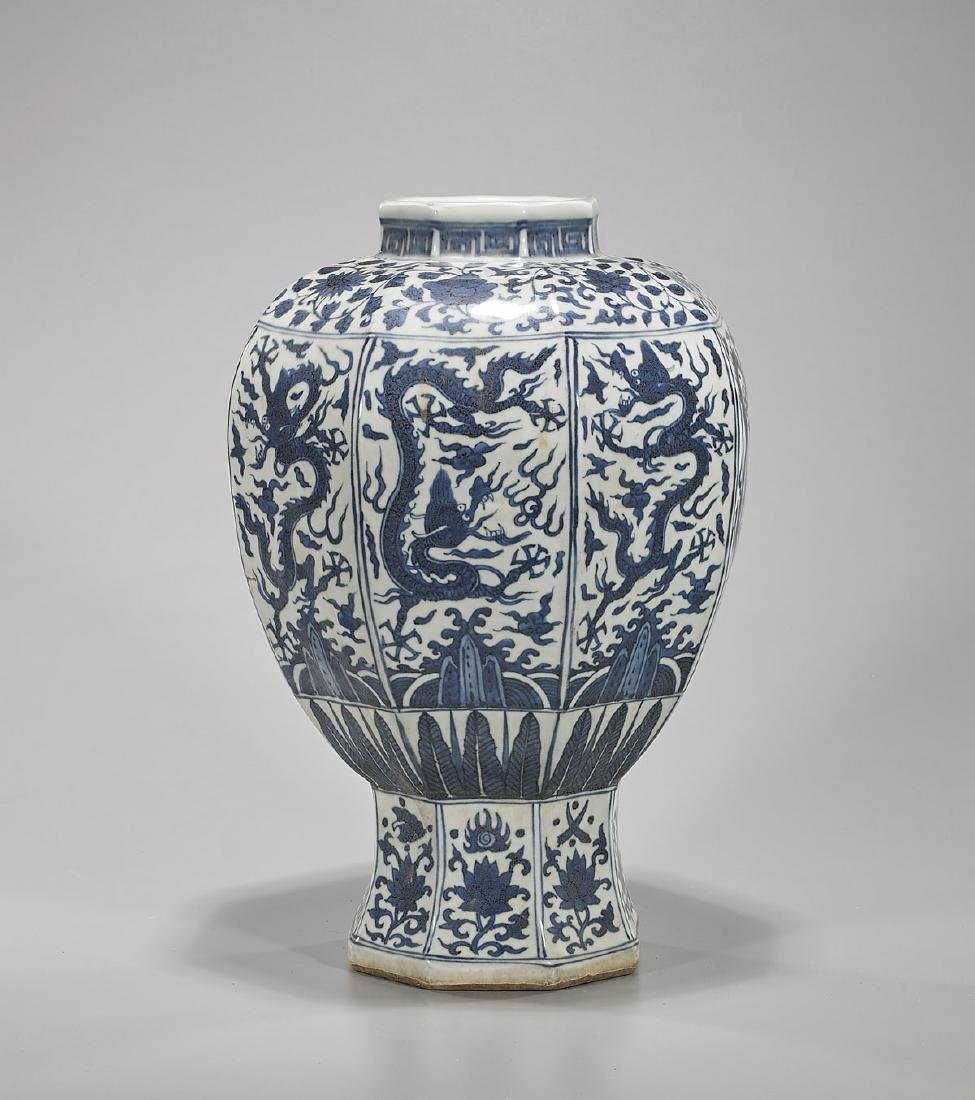Ming-Style Blue & White Porcelain Faceted 'Dragon' Vase