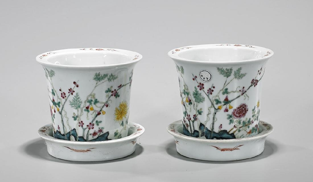 Pair Antique Chinese Enameled Porcelain Jardinieres