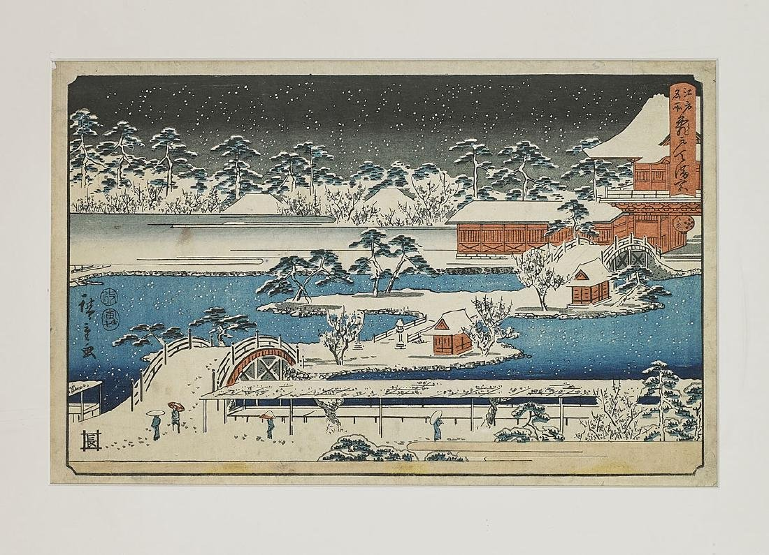 Six Antique Japanese Woodblock Prints By Hiroshige