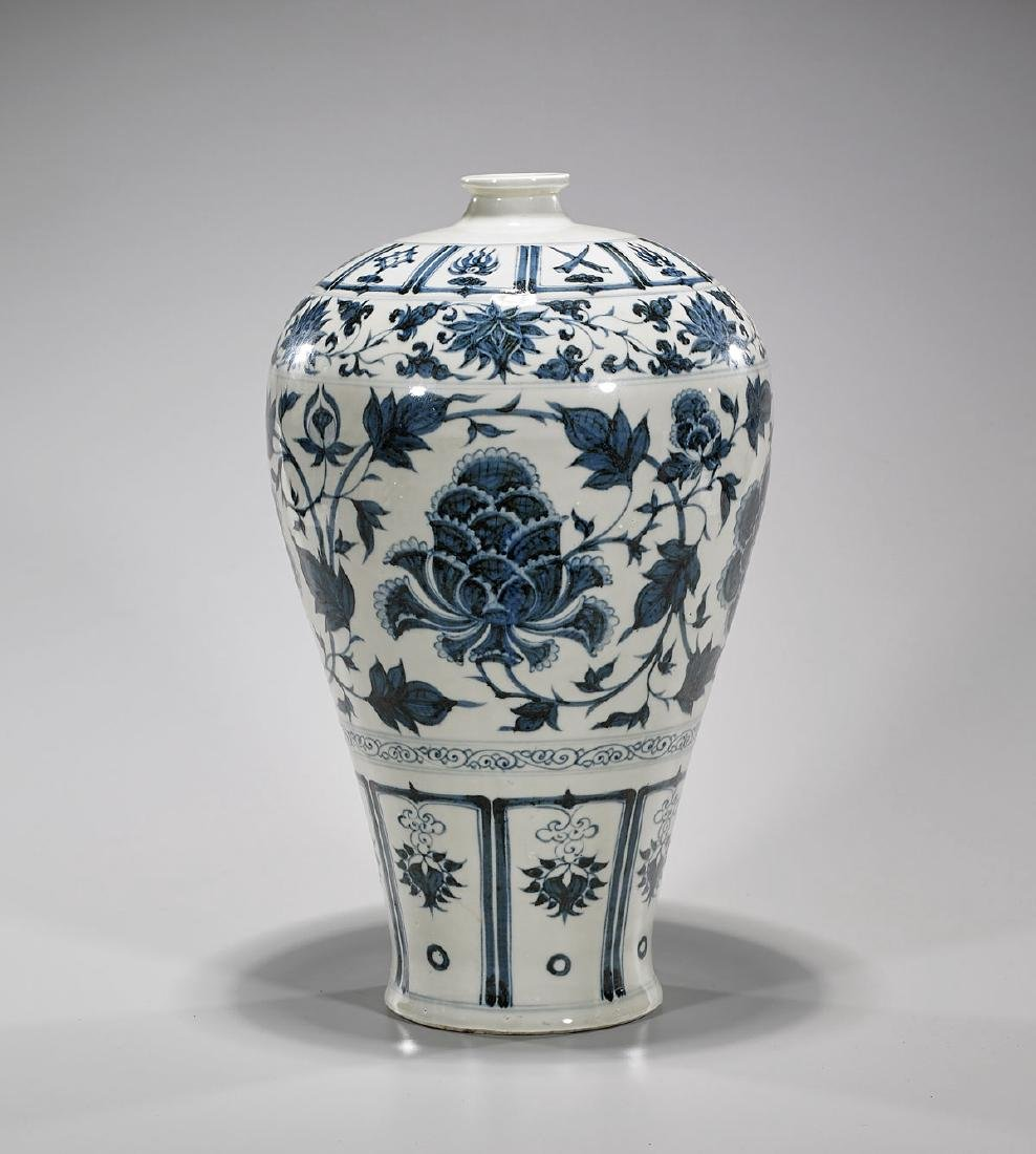Yuan-Style Blue & White Porcelain Meiping Vase