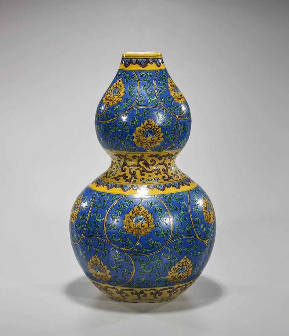 Chinese Ming-Style Enameled Porcelain Double Gourd Vase