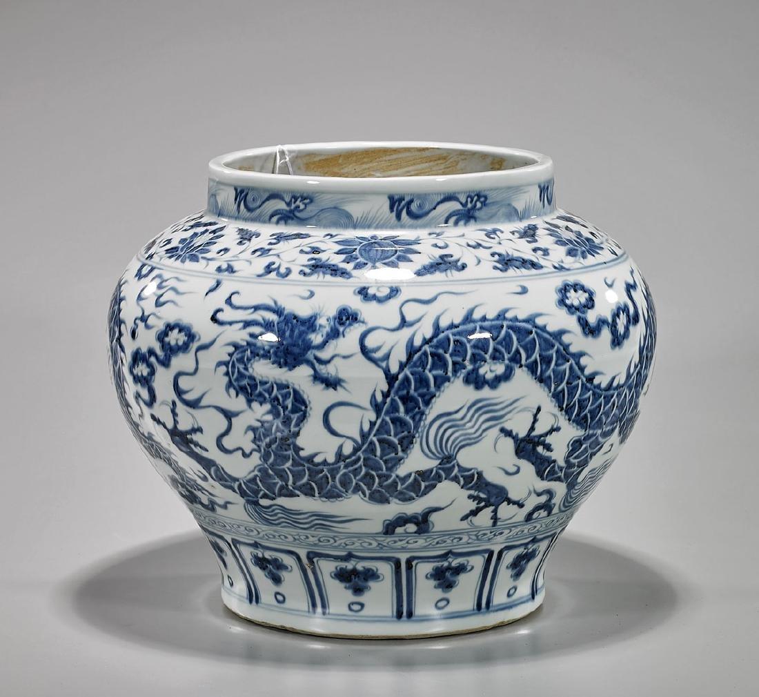 Yuan-Style Blue & White Porcelain 'Dragon' Jar