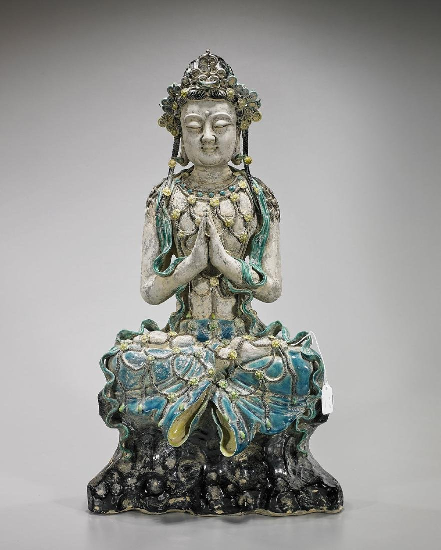 Large Chinese Parcel-Glazed Porcelain Figure of Guanyin