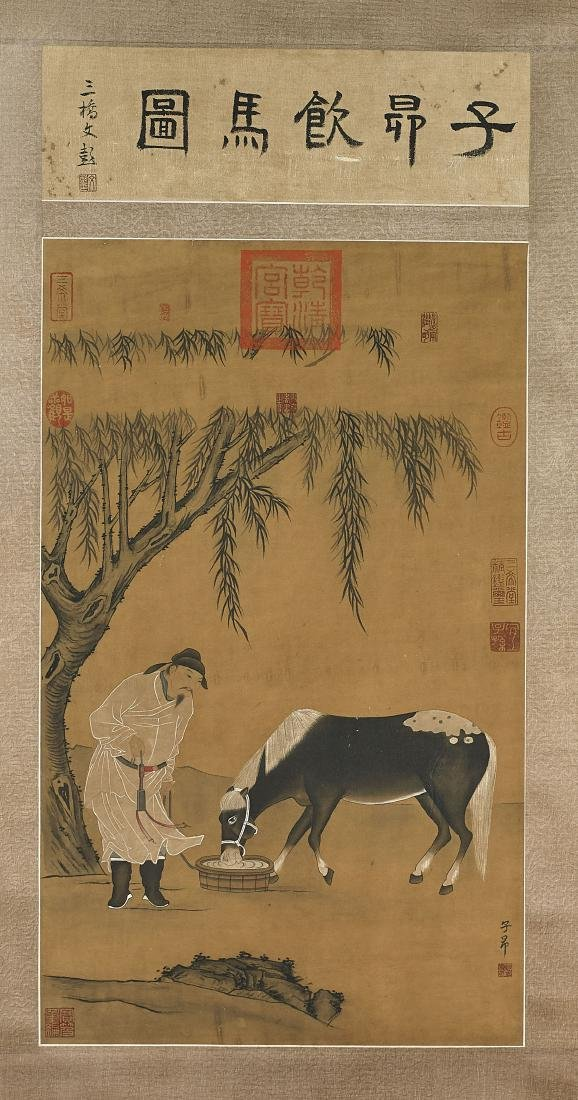 Two Chinese Scrolls After Zhao Mengfu & Gai Qi