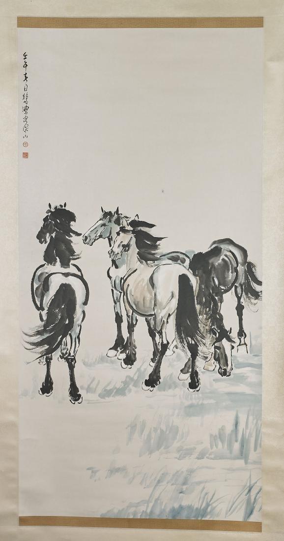 Two Chinese Scrolls After Xu Beihong & Tian Shiguang