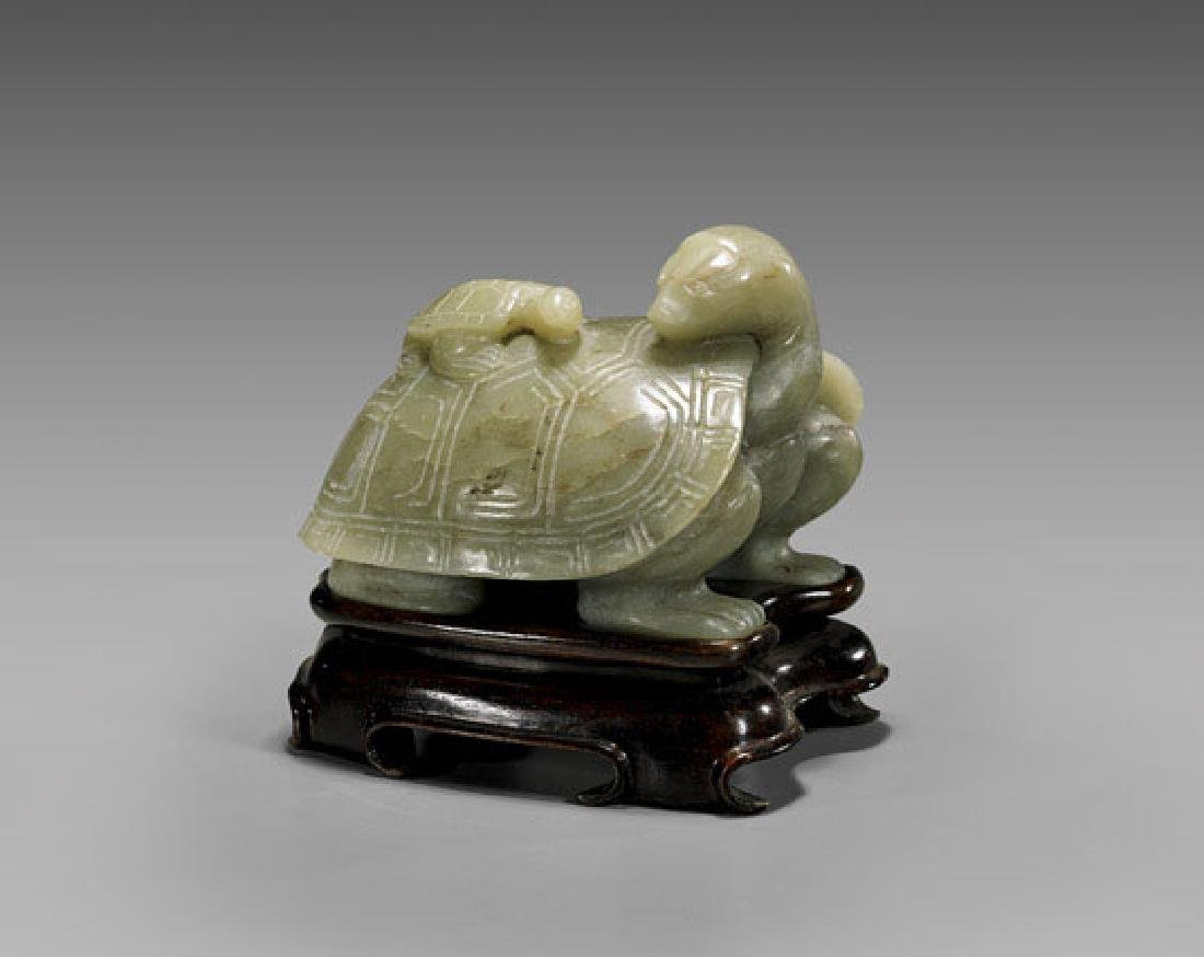 Carved Celadon Jade Turtle