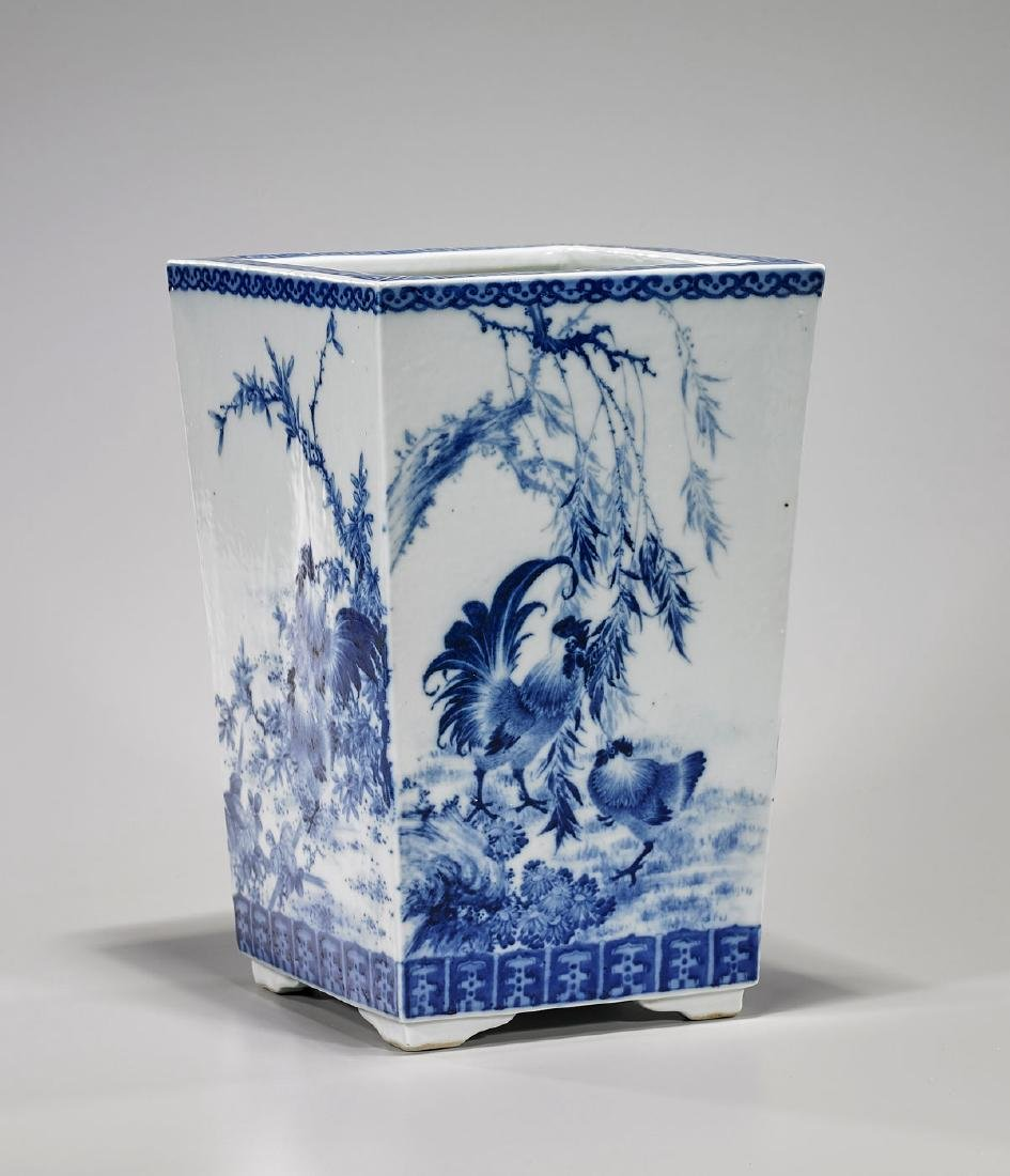 Qing-Style Blue & White Porcelain Planter