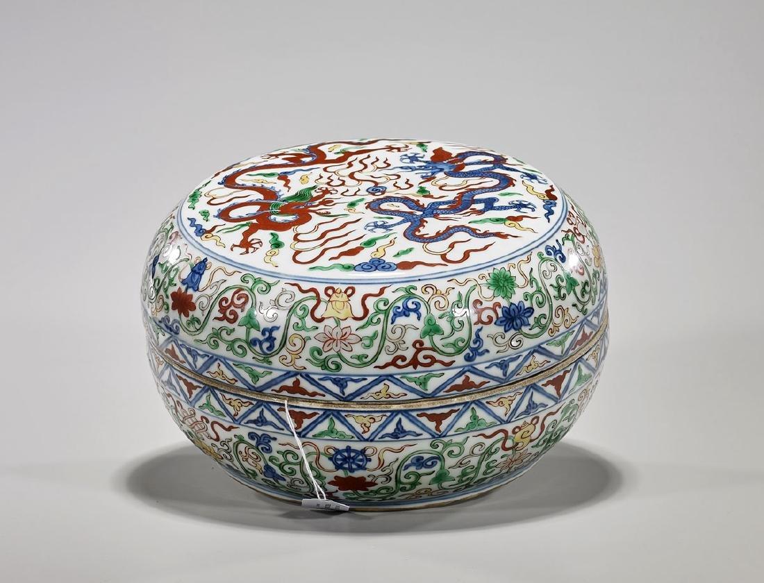 Ming-Style Wucai Enameled Porcelain Covered Box