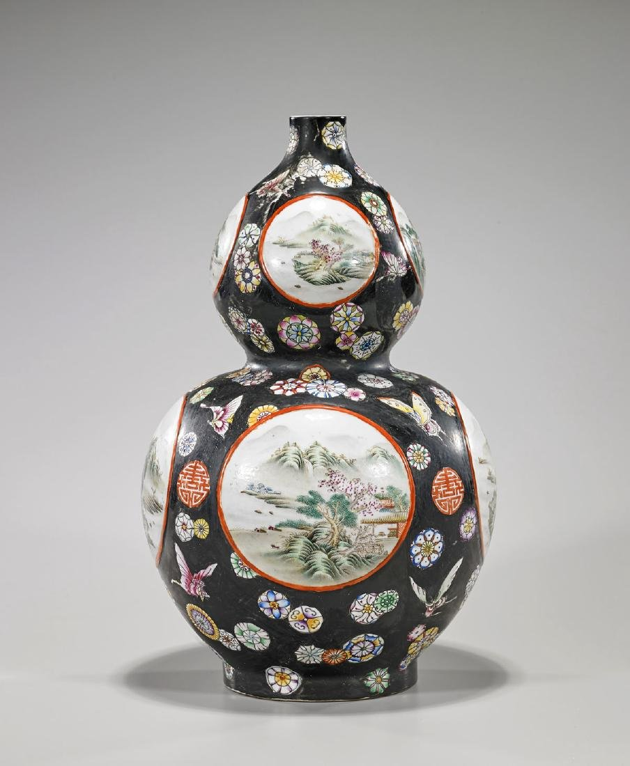 Tall Qing-Style Porcelain Double Gourd Vase