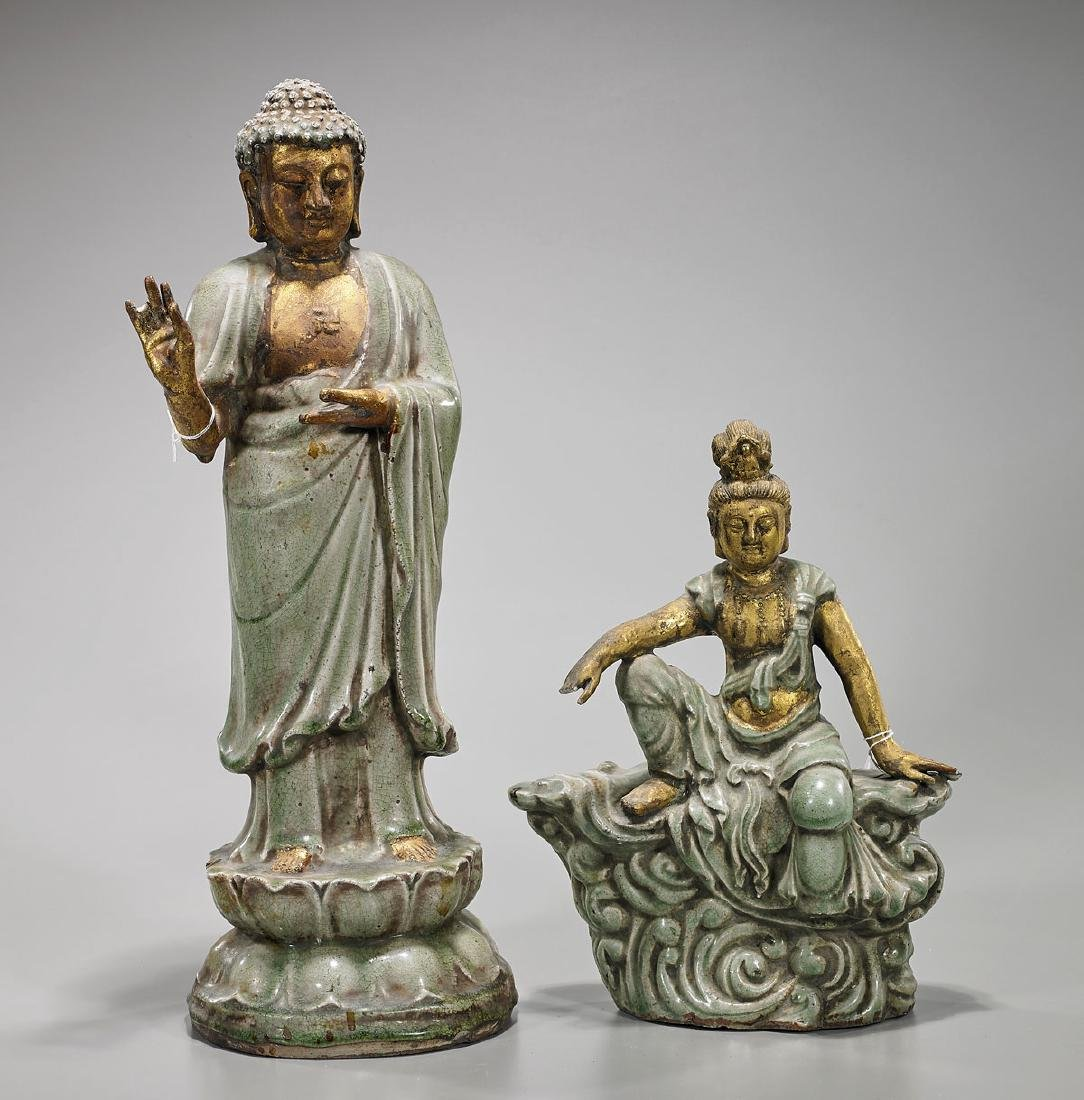 Two Chinese Song-Style Celadon Glazed & Parcel-Gilt