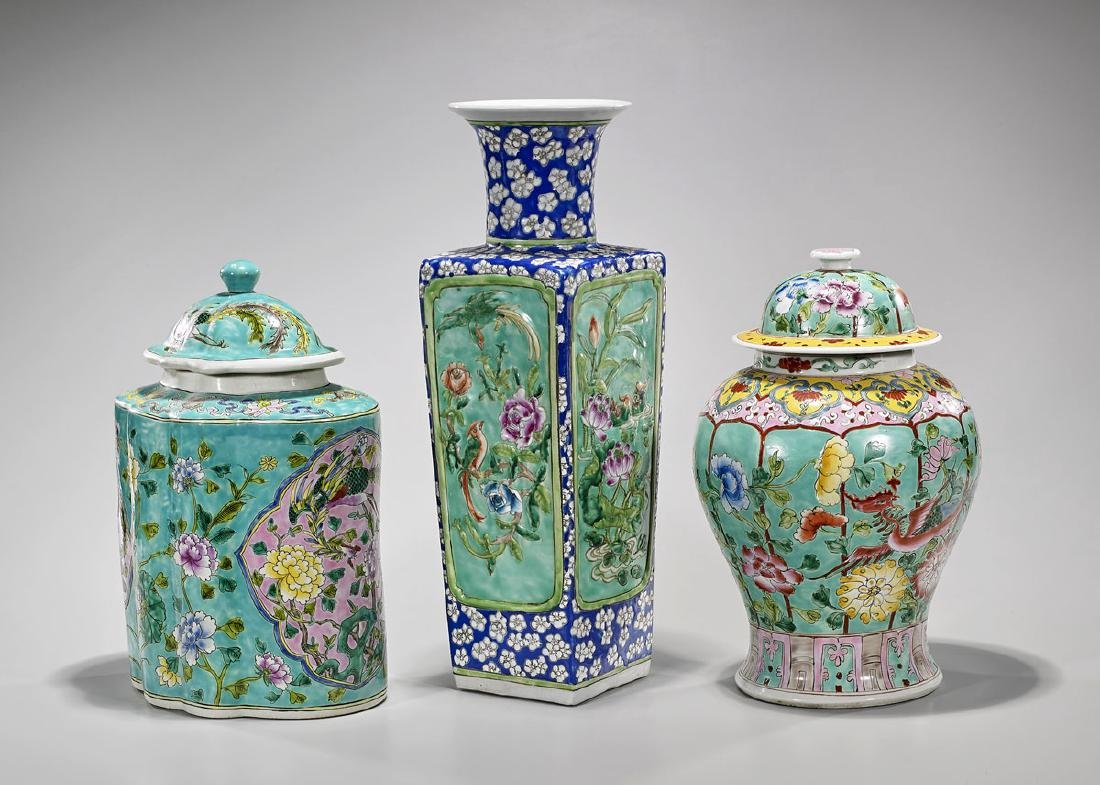 Group of Three Chinese Enameled Porcelains
