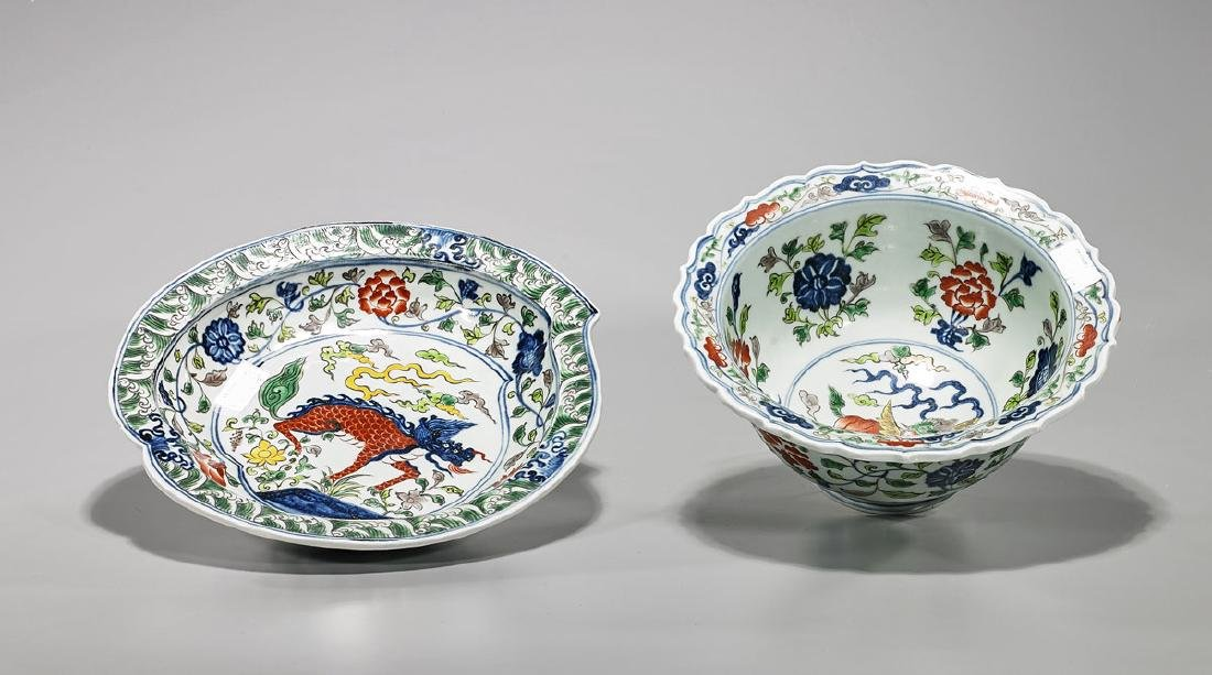 Two Ming-Style Blue & White Enameled Porcelains