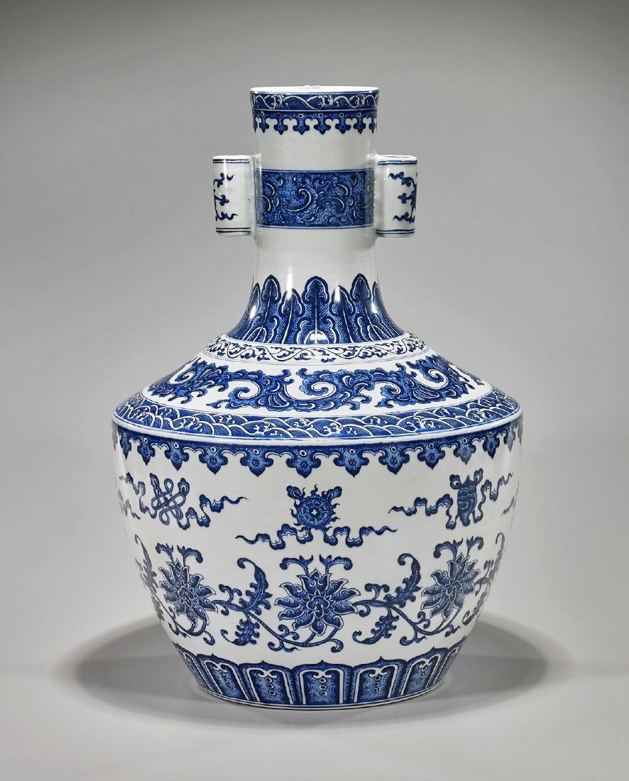 Large Qing-Style Blue & White Porcelain Vase
