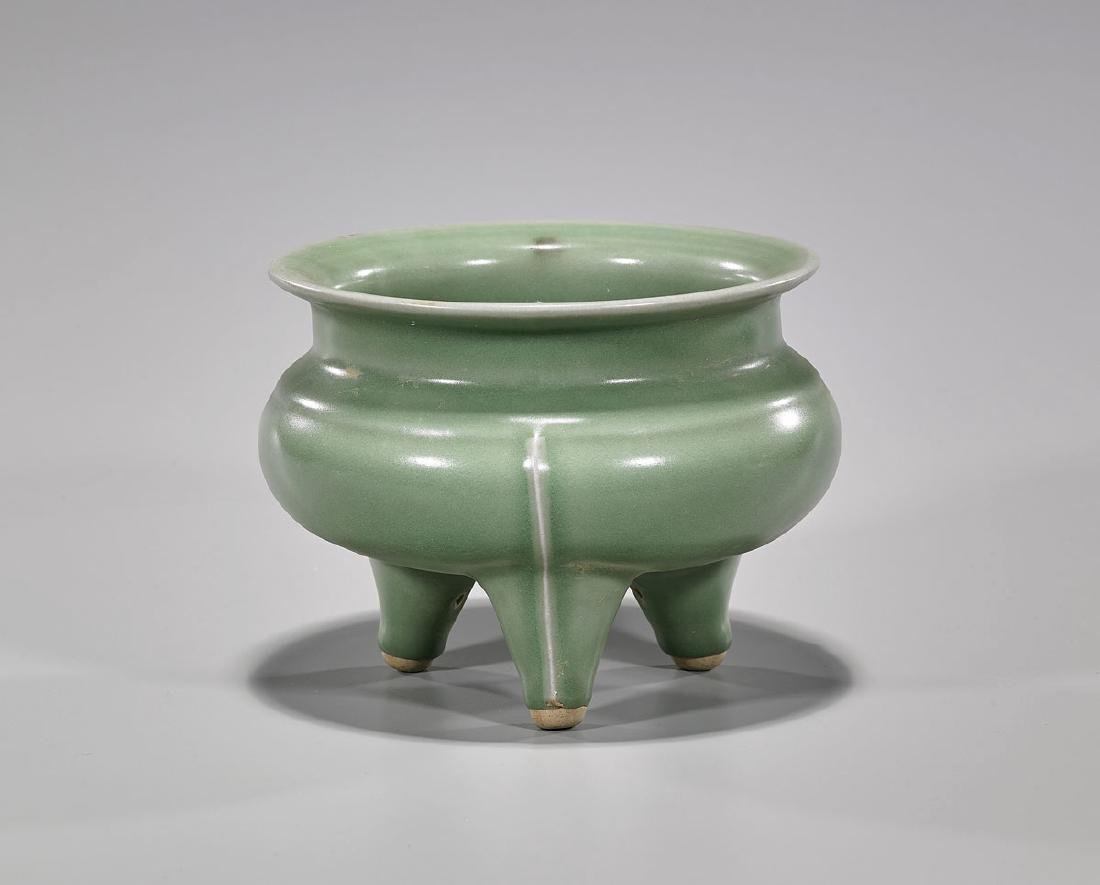 Chinese Song-Style Celadon Glazed Tripod Censer